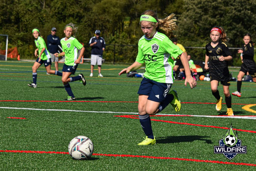 Carey in hot pursuit of the ball as she drives towards the goal box.